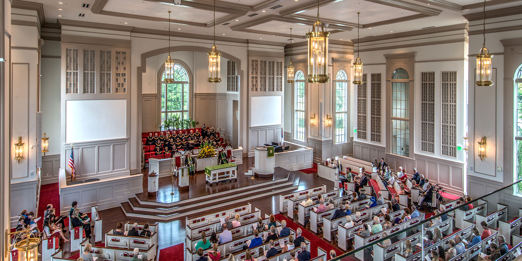 BOUDREAUX worked with First Presbyterian Church in Myrtle Beach to provide a design for the interior and exterior of this church.