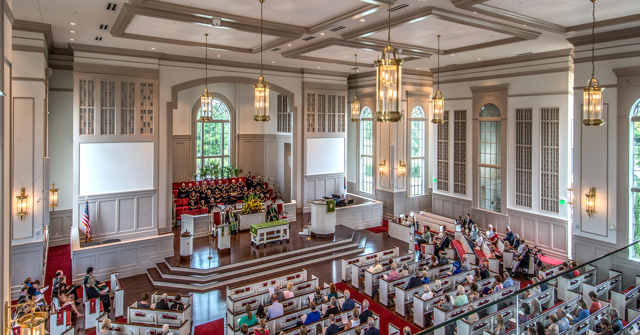 Church goers enjoying the newly designed sanctuary at the First Presbyterian Church in Myrtle Beach.