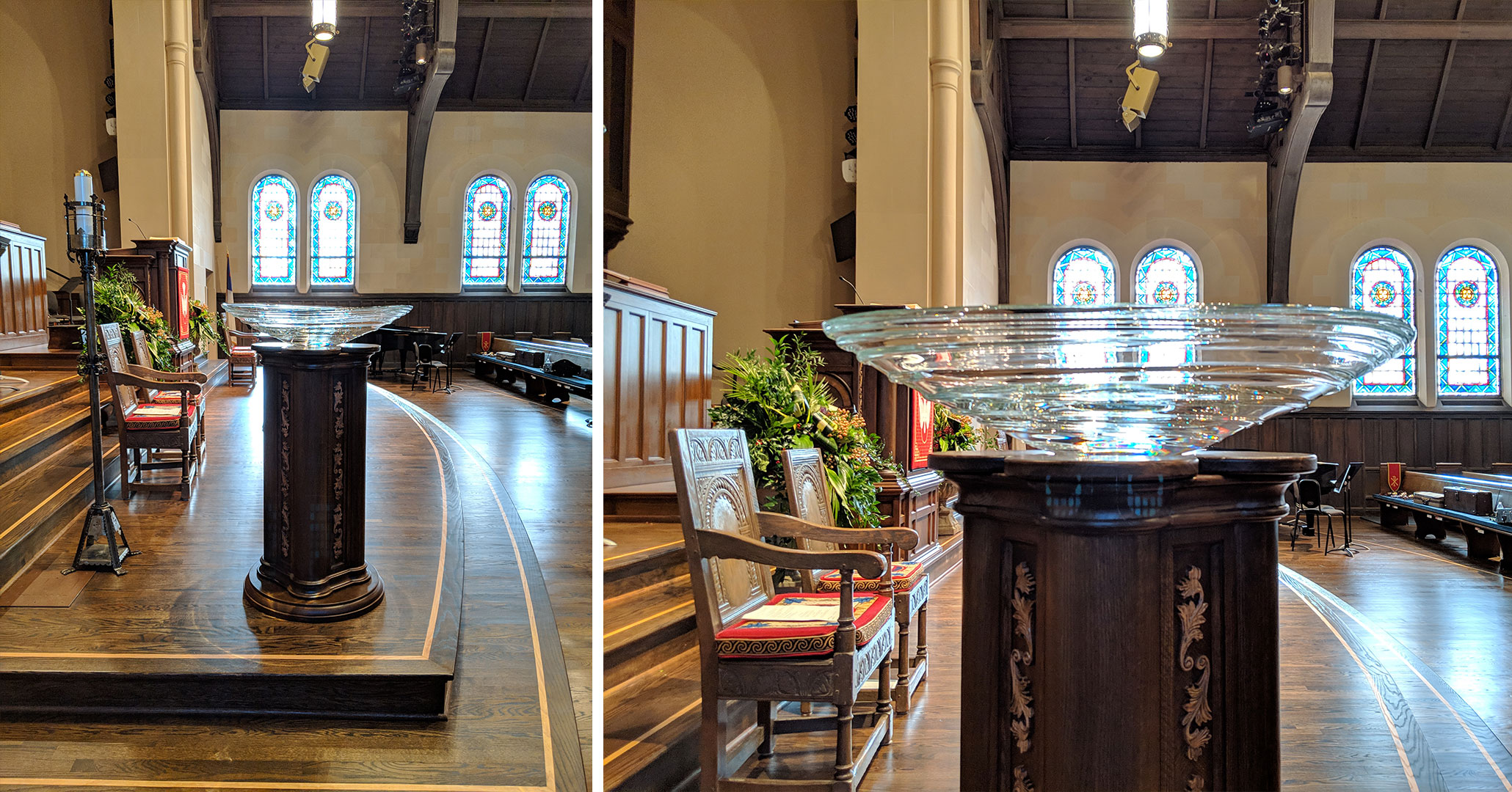 Historic Preservationists and Interior Designers at Boudreaux worked with First Presbyterian Church in Spartanburg, SC to design the baptismal font.
