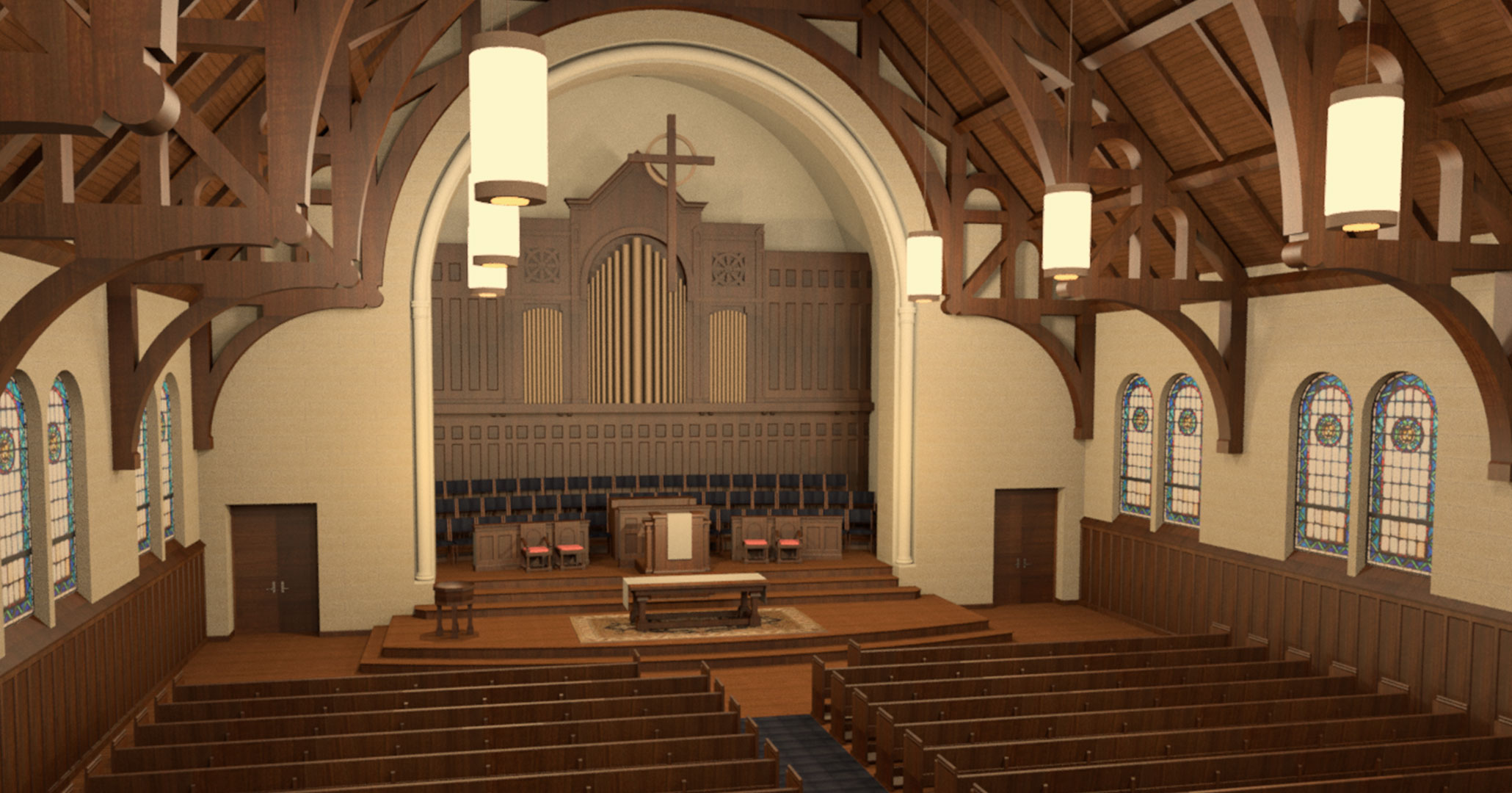 Historic Preservationists and Interior Designers at Boudreaux worked with First Presbyterian Church in Spartanburg, SC rendering.