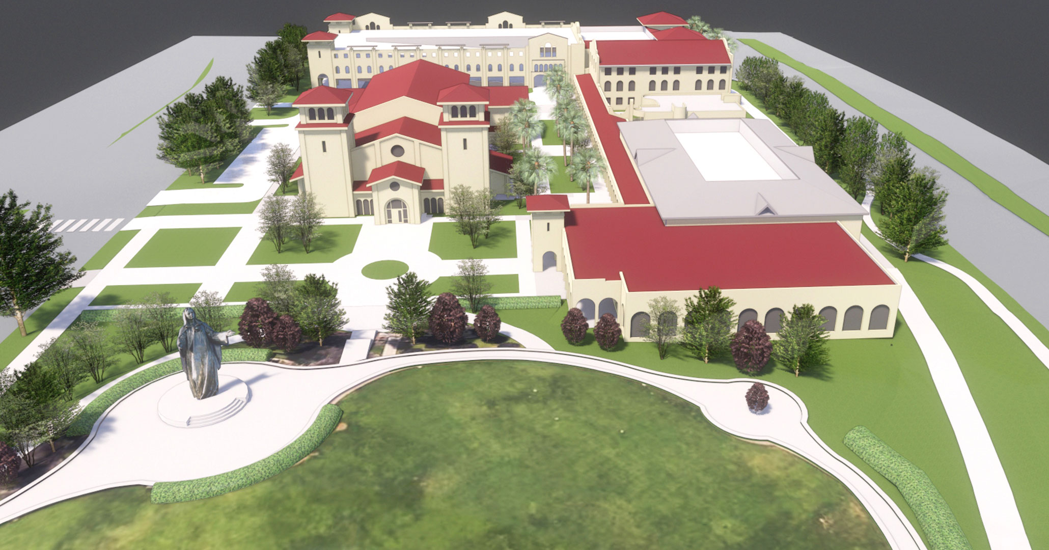Aerial rendering of the Our Lady of Peace campus expansion.