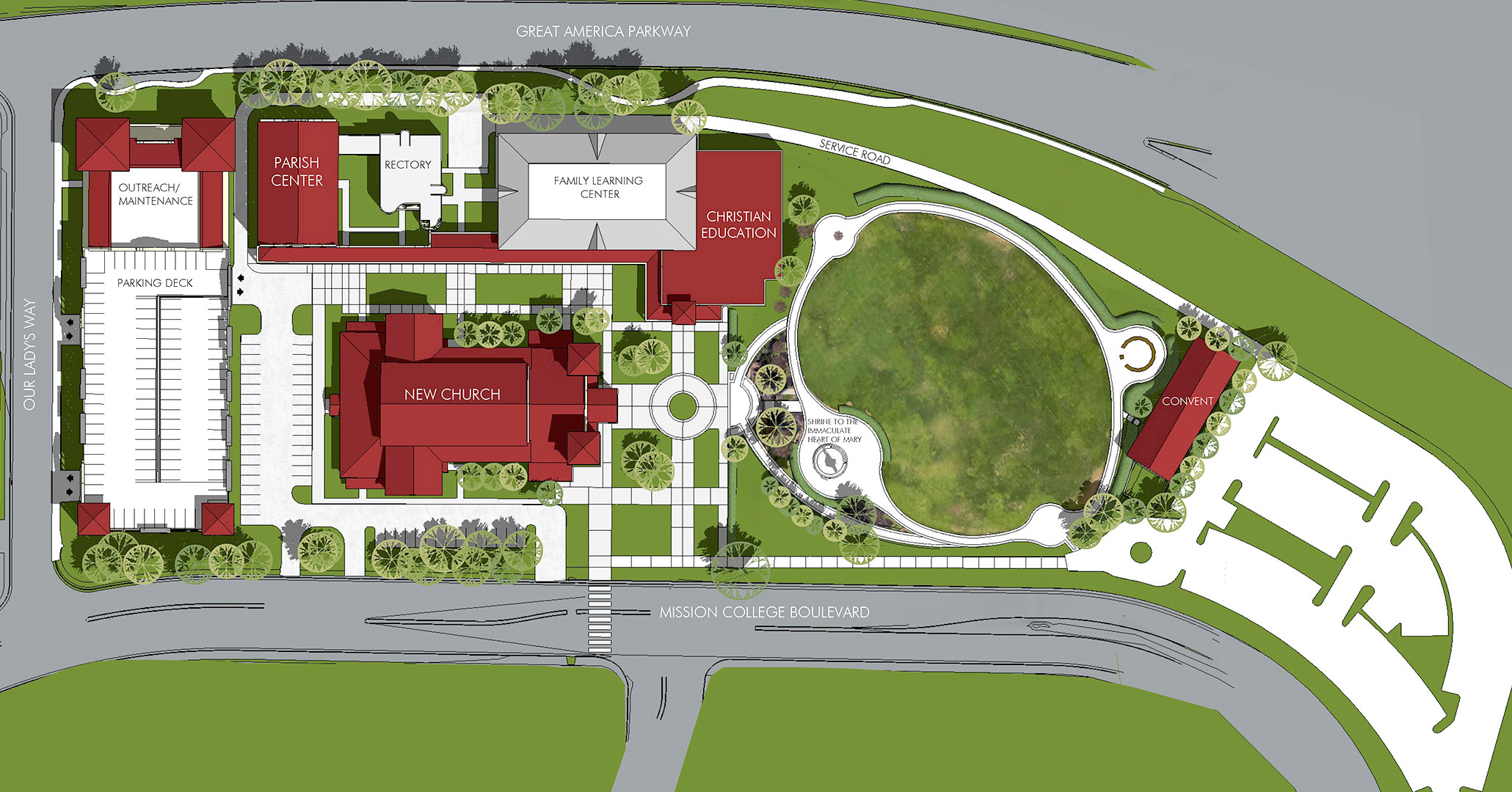Drawing of the new Out Lady of Peace Campus in Santa Clara, CA.