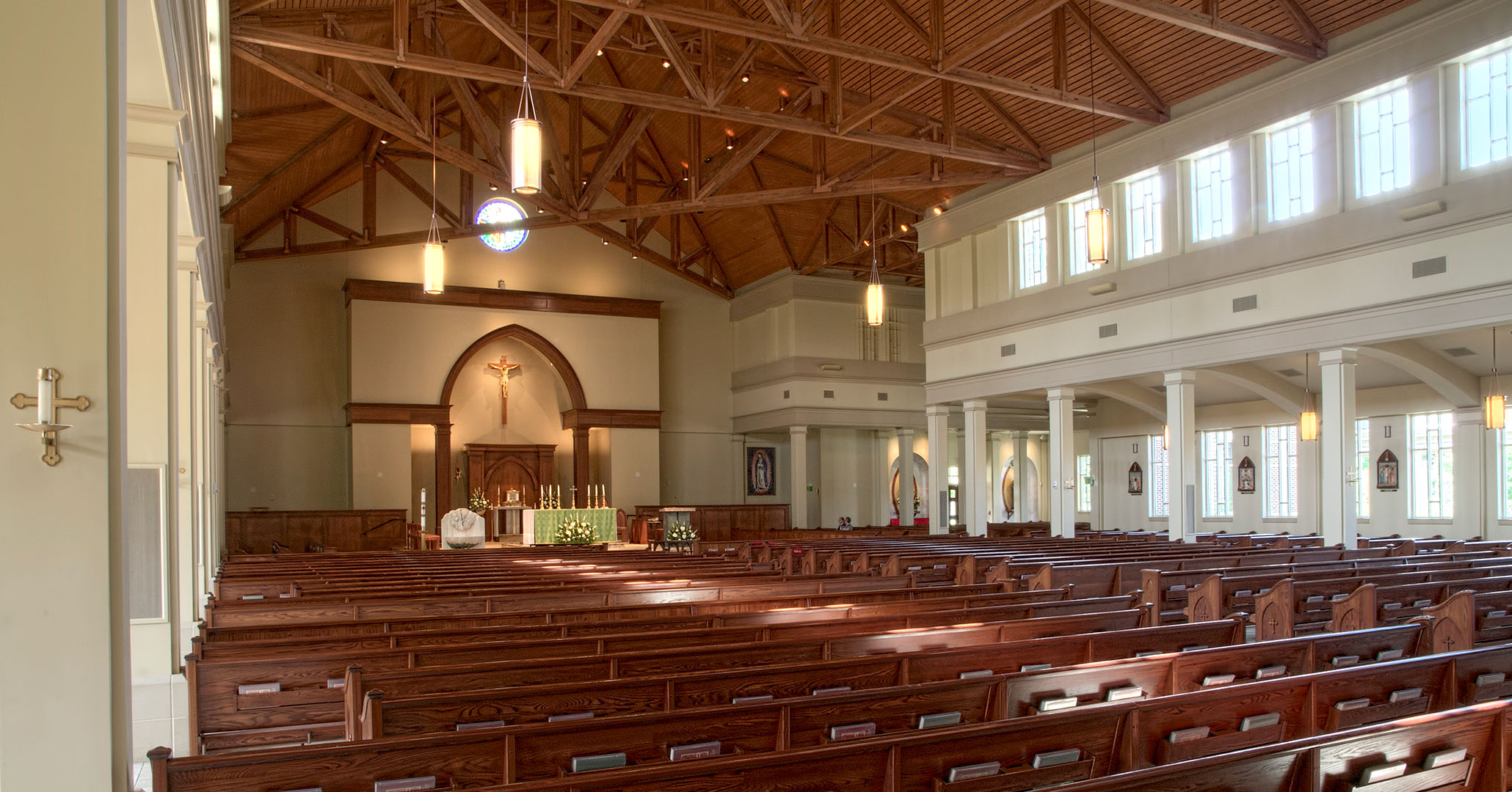 Boudreaux architects worked with St. Mark Catholic Church to design the interiors at the Catholic Church.