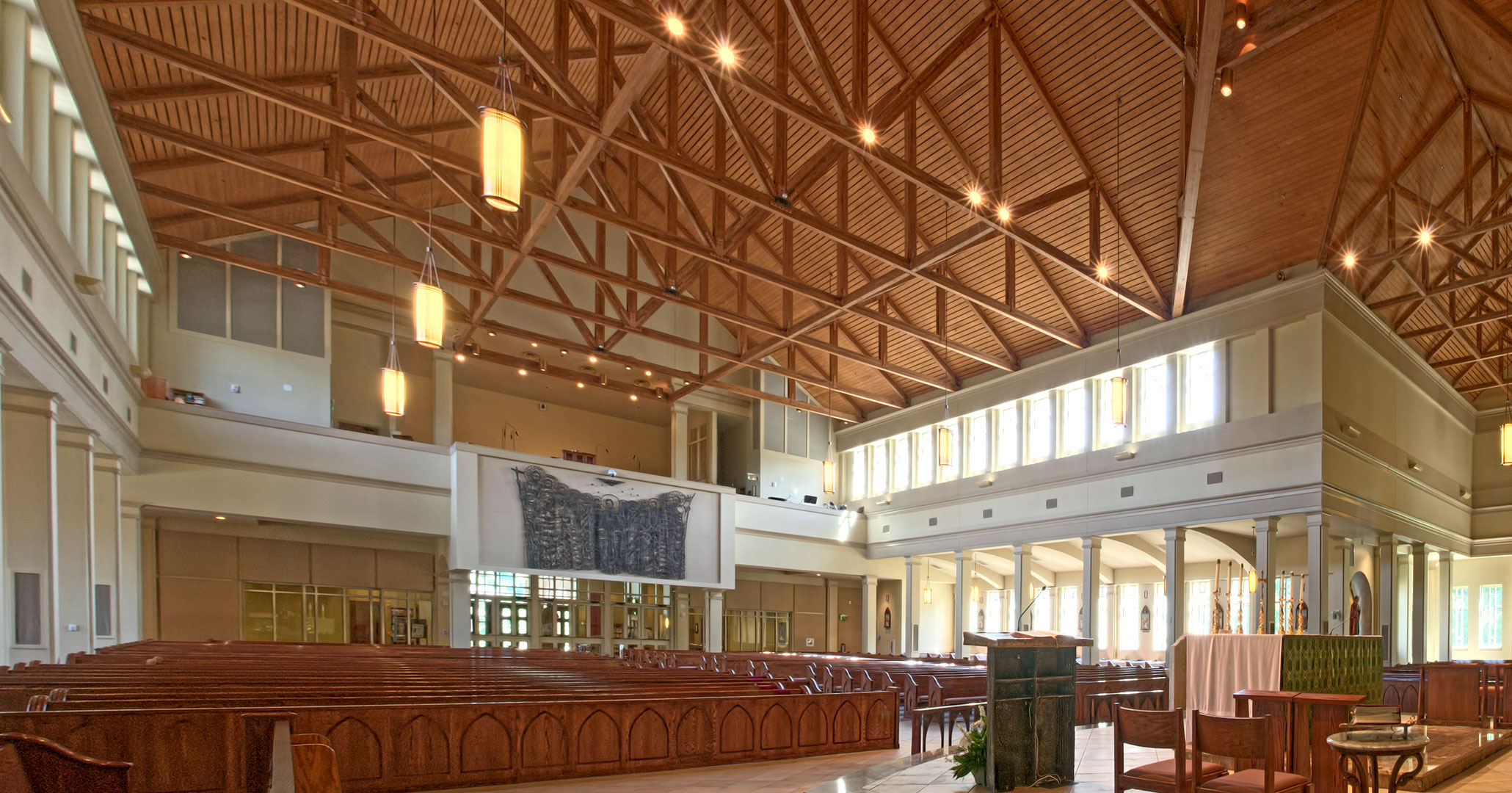 Boudreaux architects worked with St. Mark Catholic Church to create a contemporary interior.
