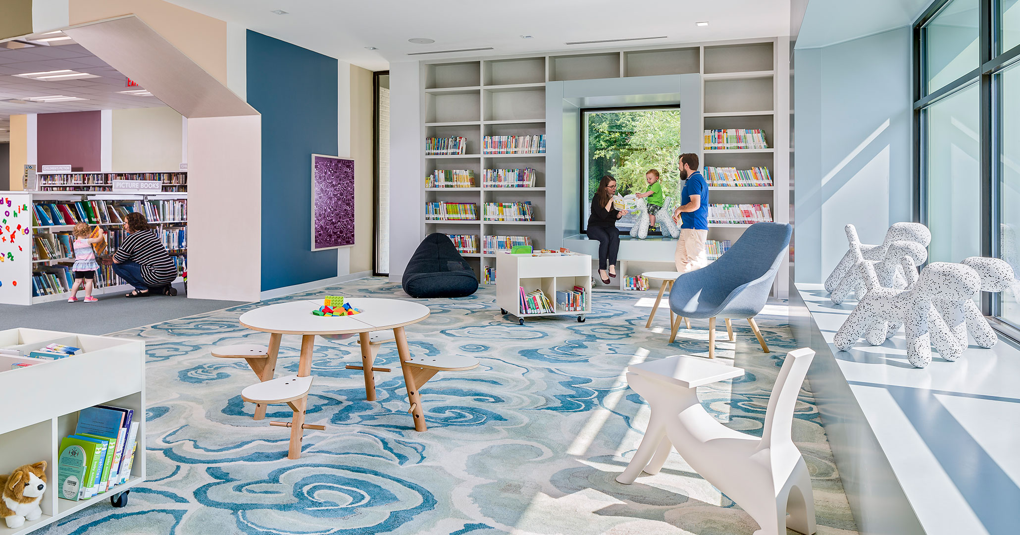 Boudreaux architects out of Columbia, SC designed colorful spaces for the Cooper library.