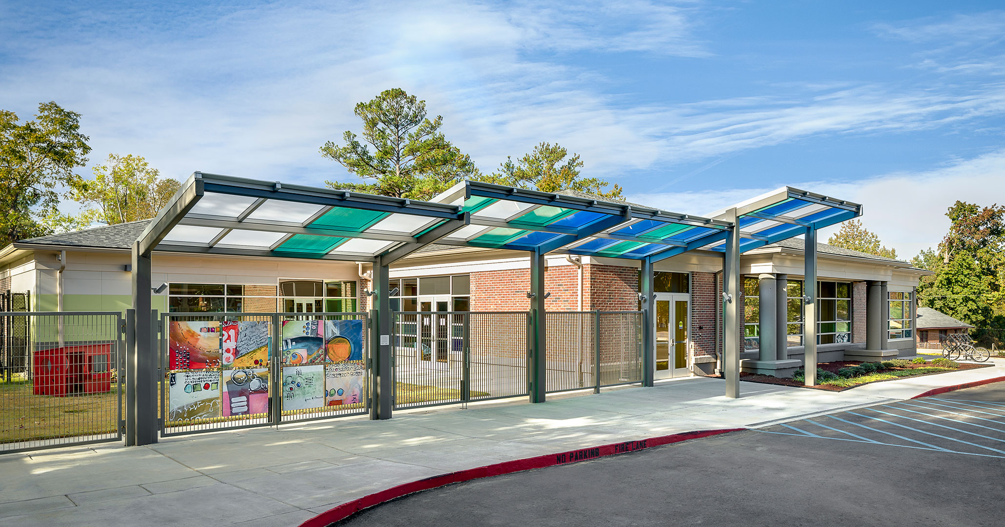 Richland County Library worked with Boudreaux to design modern exterior elements for Richland North Main Library.