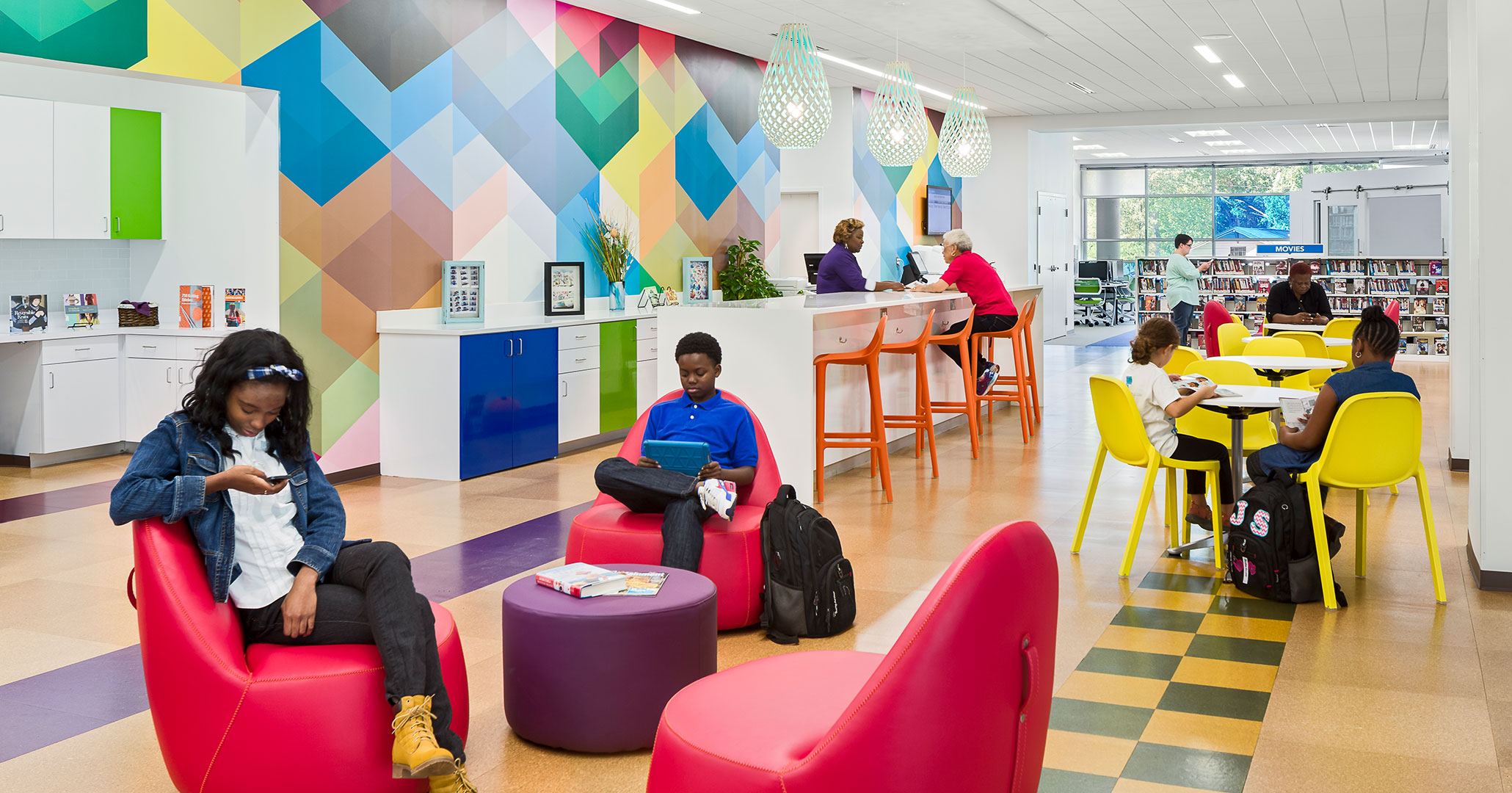 Richland County Library's North Main location worked with Boudreaux to design colorful spaces.