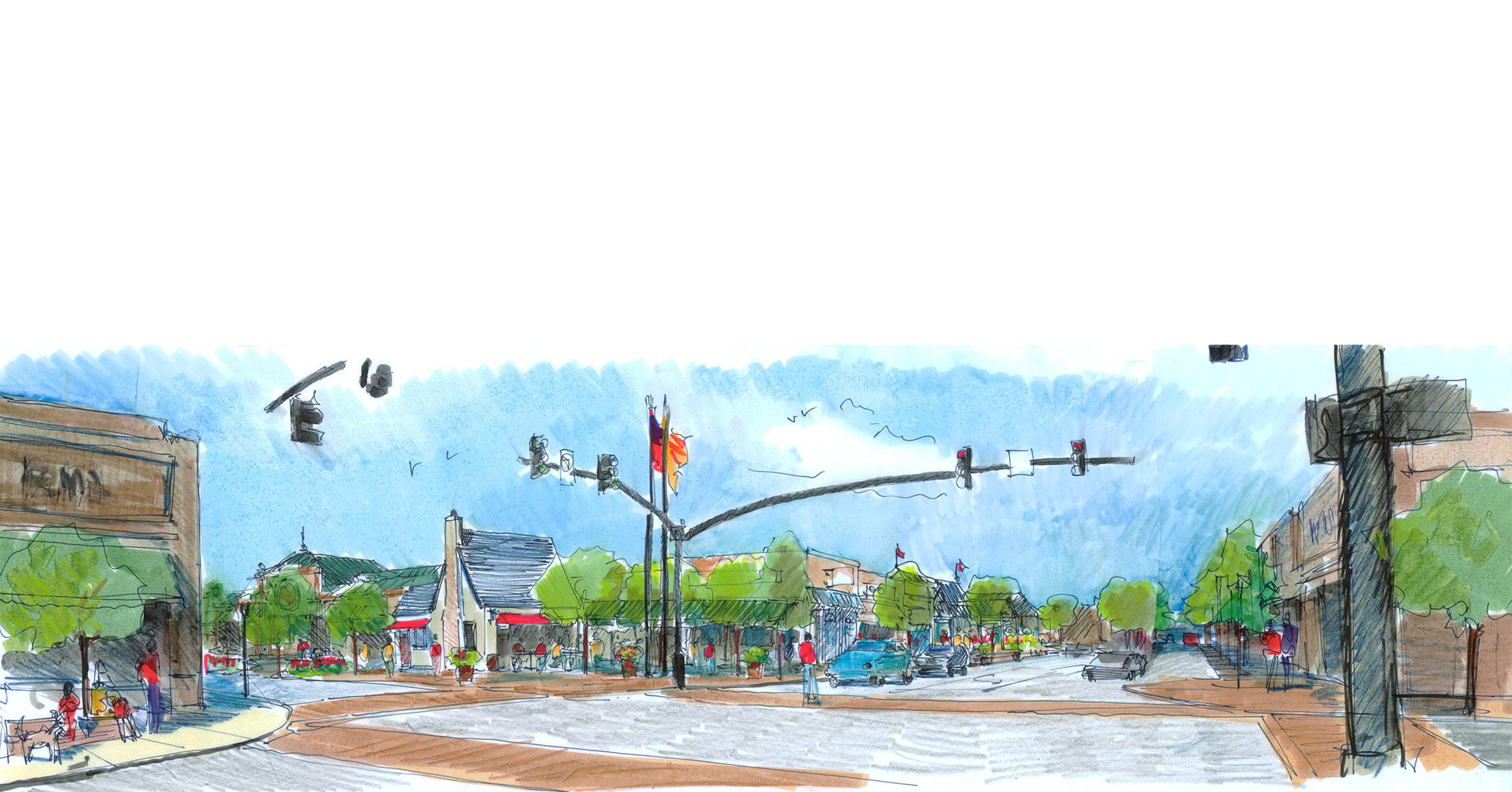 Town of Lexington Master Plan rendering showcasing new traffic lights.