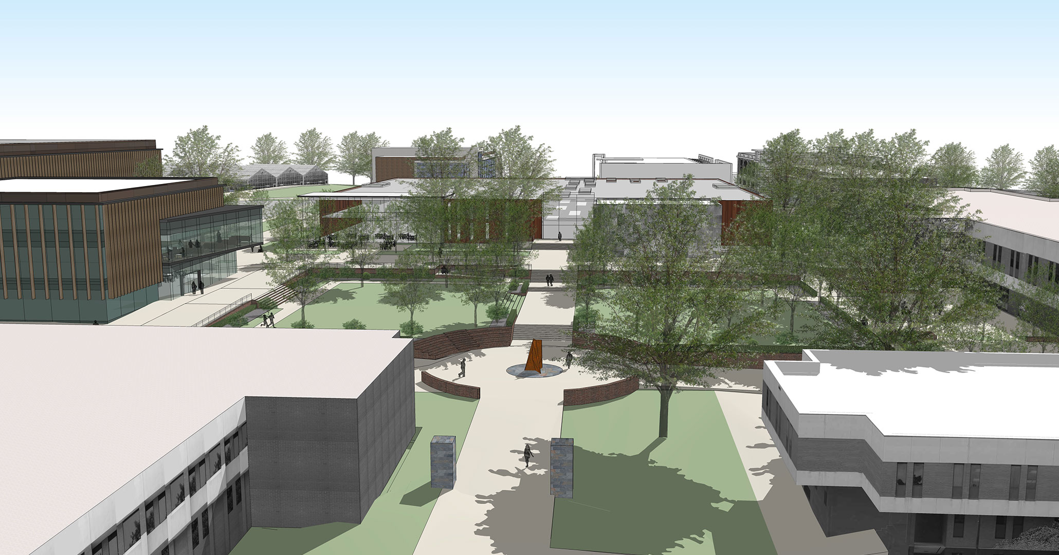 Clemson University hired Boudreaux architects to plan the exteriors and pathways of the Southeast Precinct.