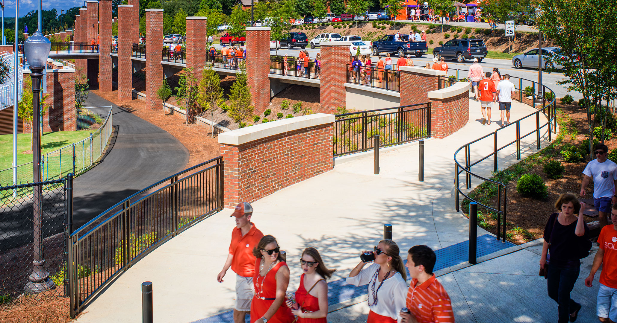 Clemson University worked with Boudreaux master planners and designers to improve pedestrian traffic building the pedestrian walkway past the famous Memorial Stadium.