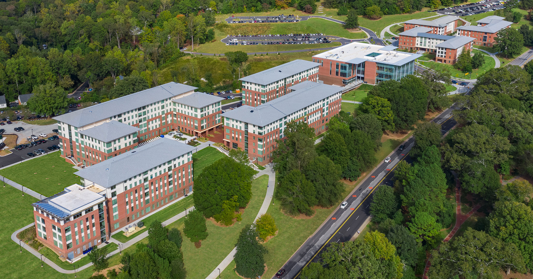 Boudreaux architects worked with Clemson University to incorporate Douthit Hills Student Hub into the campus landscape.