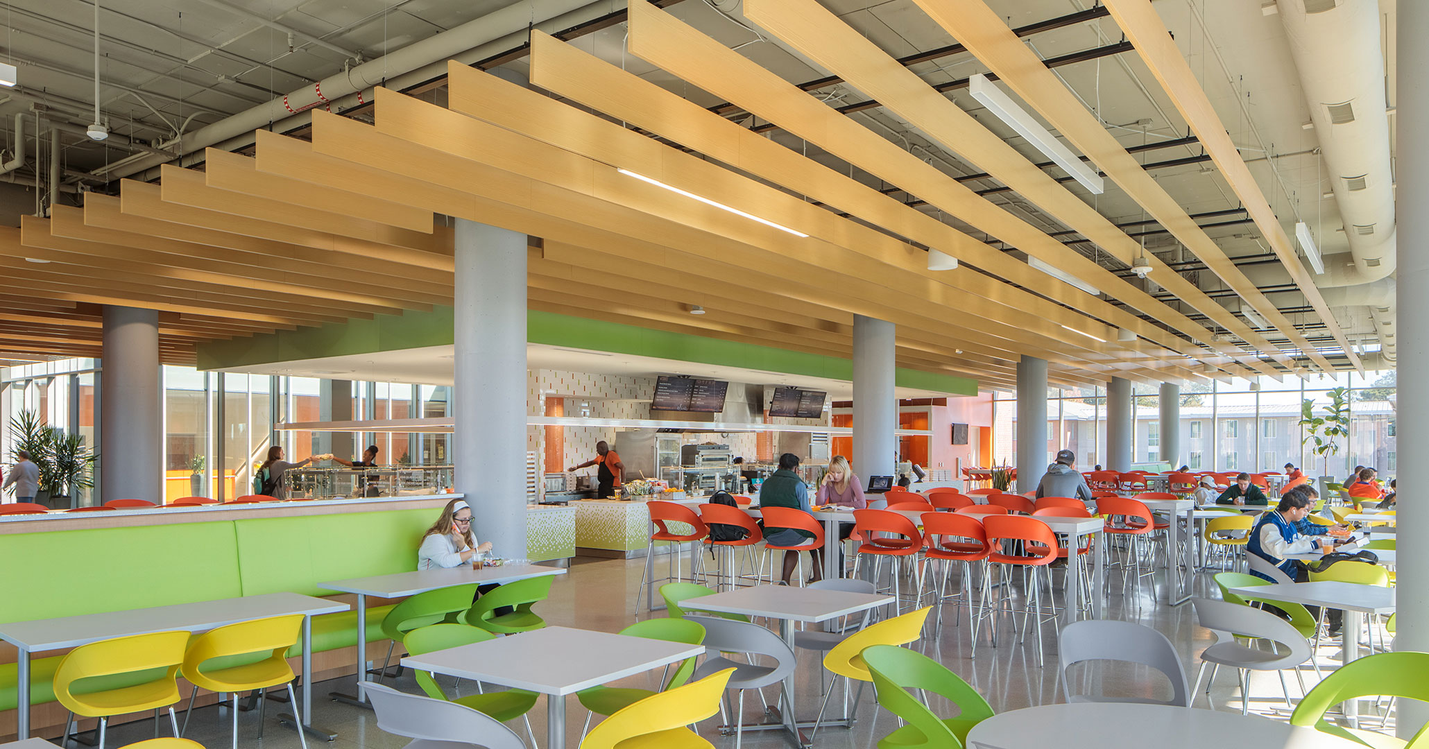 Clemson University worked with Boudreaux architects to design the café at Douthit Hills Student Hub.