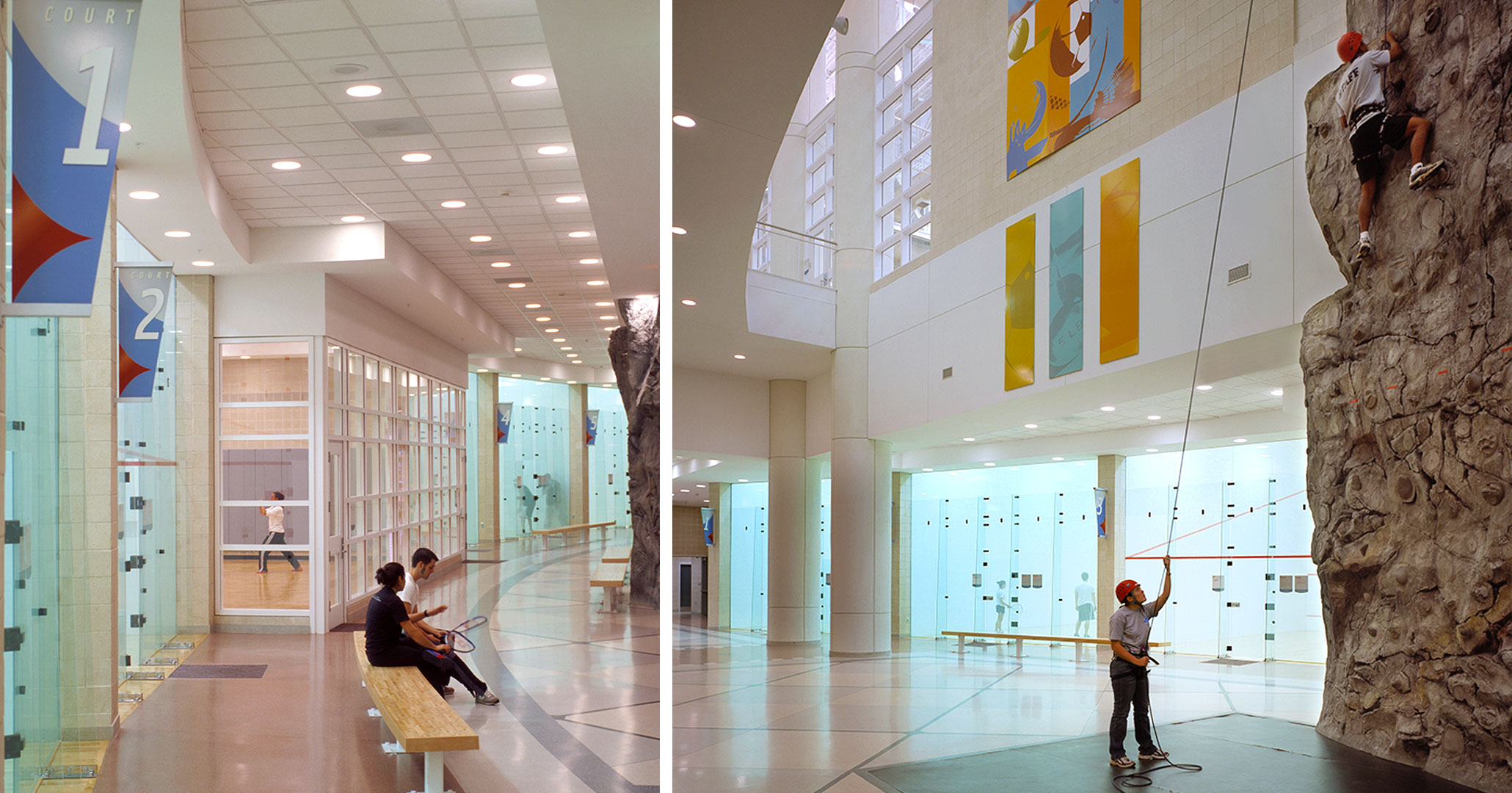 University of South Carolina worked with Boudreaux architects to design a climbing rock wall.