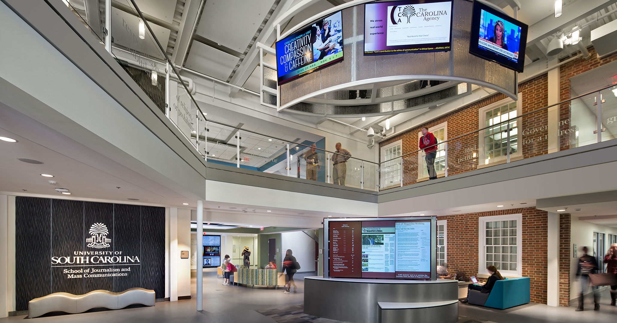 University of South Carolina worked with Boudreaux architects to design and upgrade the interior and exterior of the School of Journalism.