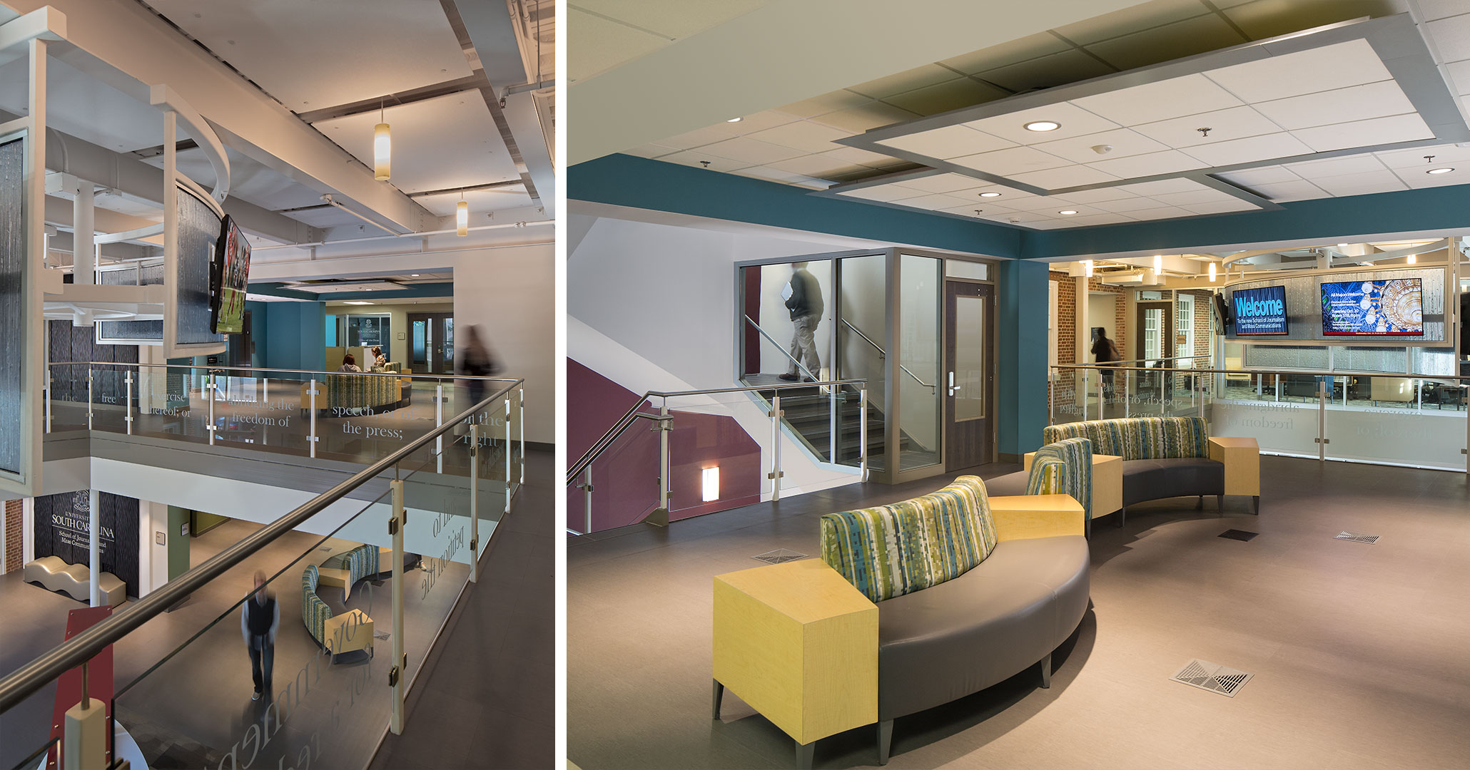 UofSC worked with Boudreaux architects to improve the interior spaces for students at the School of Journalism.