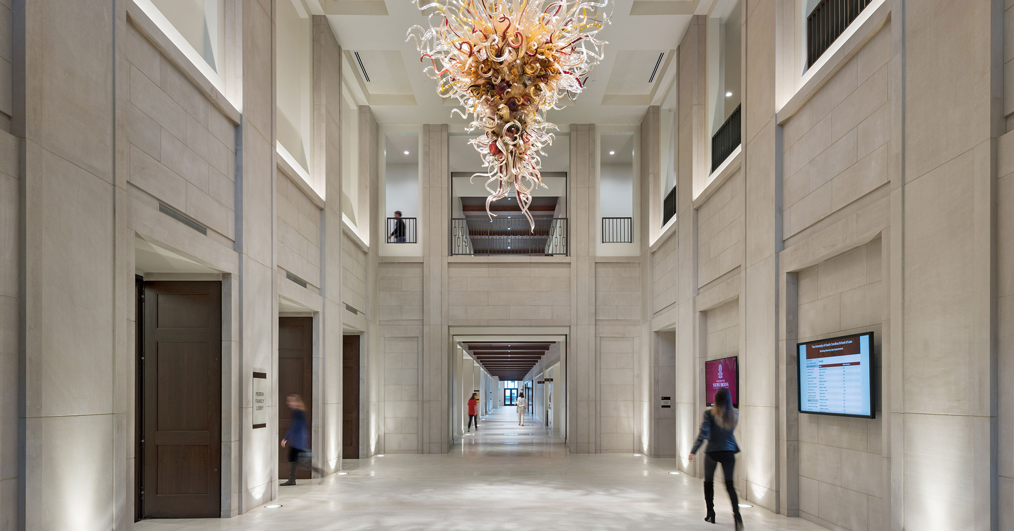 Boudreaux architects designed the new Law School with a glass sculpture made by Chihuly.