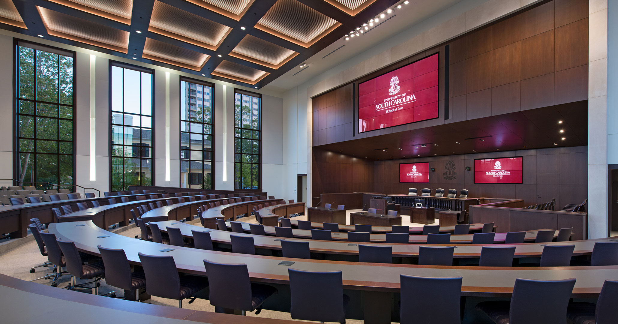 The University of South Carolina worked with Boudreaux architects to design classrooms for the new Law School.