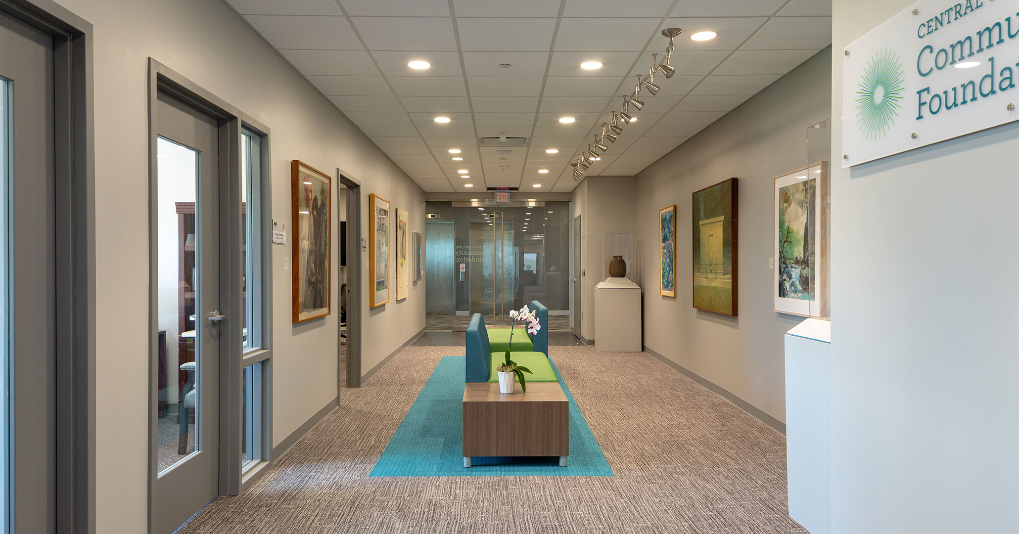 Boudreaux architects worked with the Central Carolina Community Foundation to provide interior design and programming services for their new office space at Bull Street District.