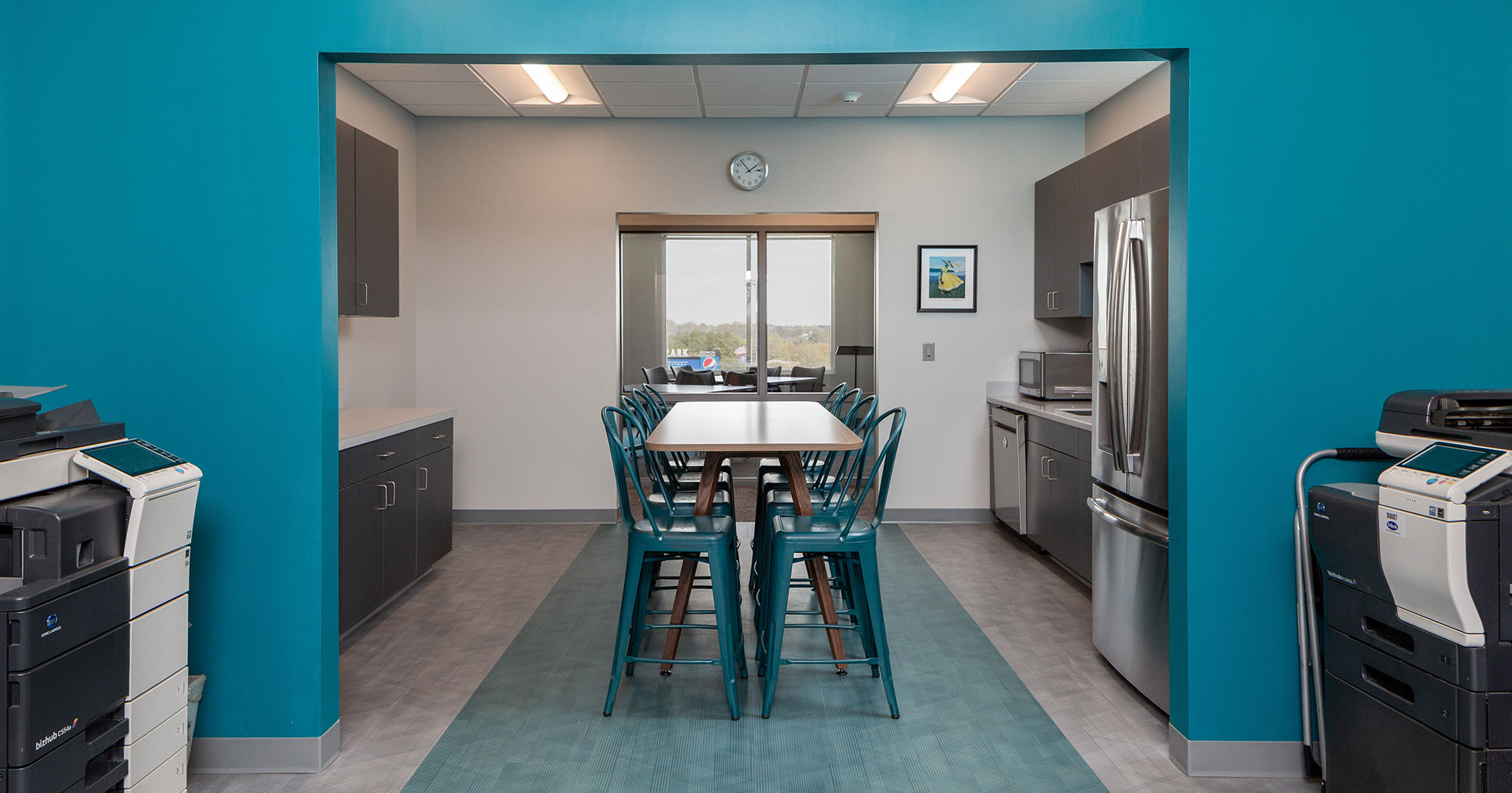 Boudreaux architects worked with the Central Carolina Community Foundation to provide interior design and programming services for their new office space including a modern kitchen and break room space.