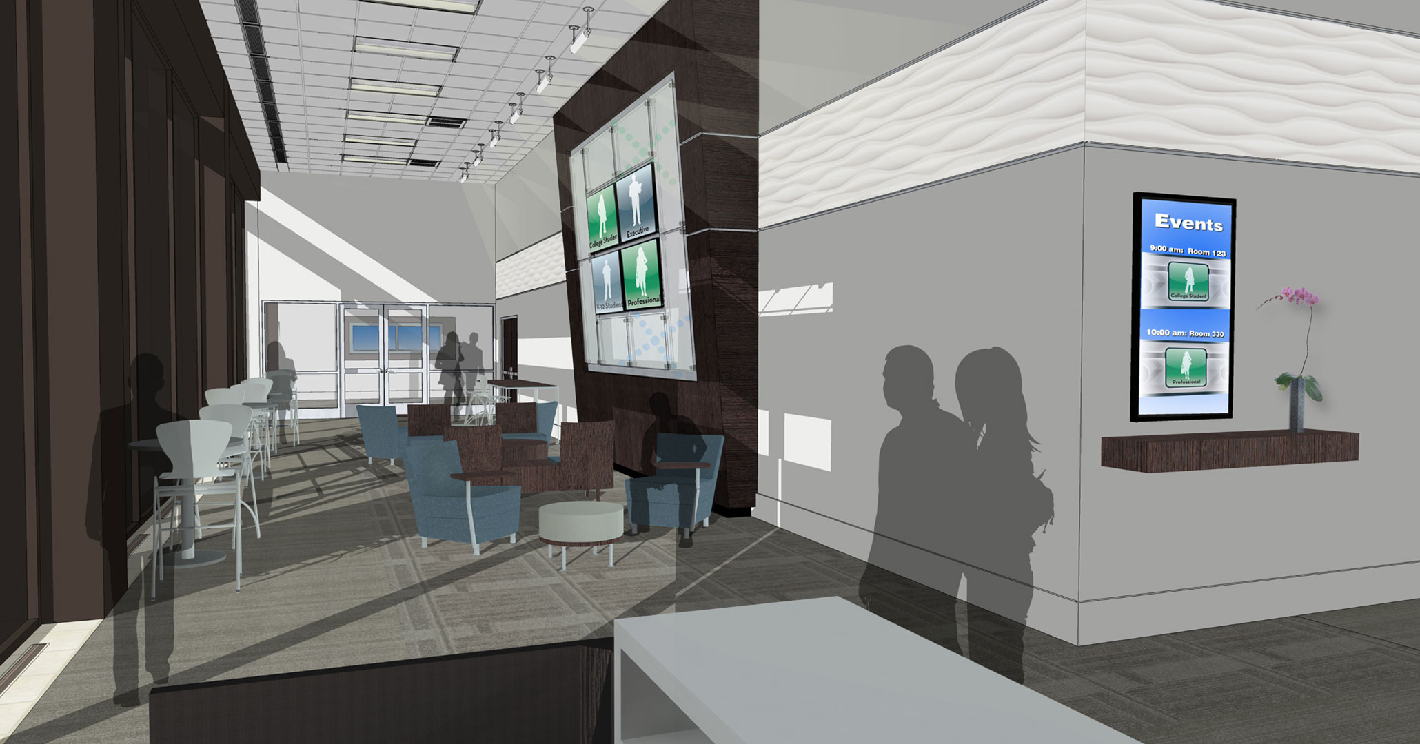 Boudreaux architects worked with the IT-ology to provide interior design and programming services for their new office space on Gervais Street, shown are renderings during the design phase.