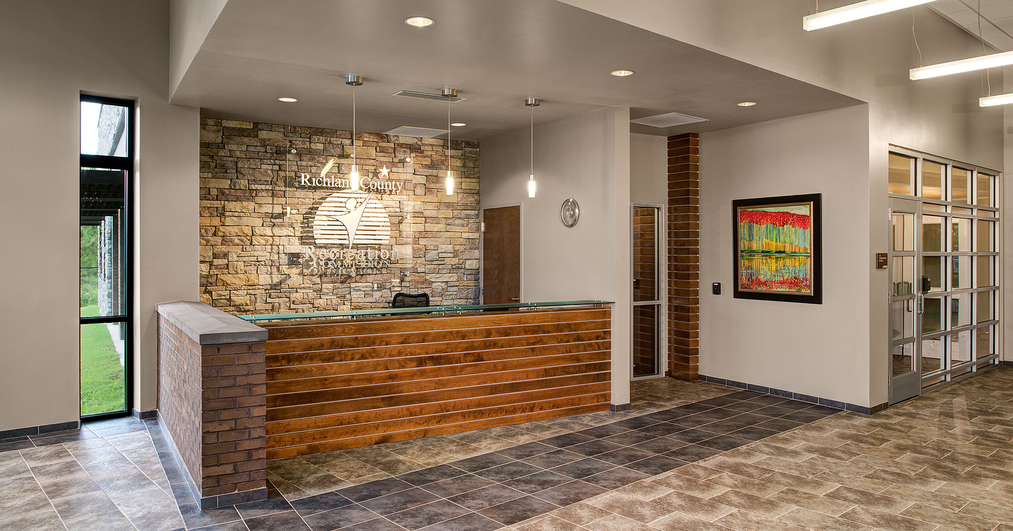 Boudreaux architects worked with the Richland County Recreation Commission to design the interiors at the RCRC Headquarters.