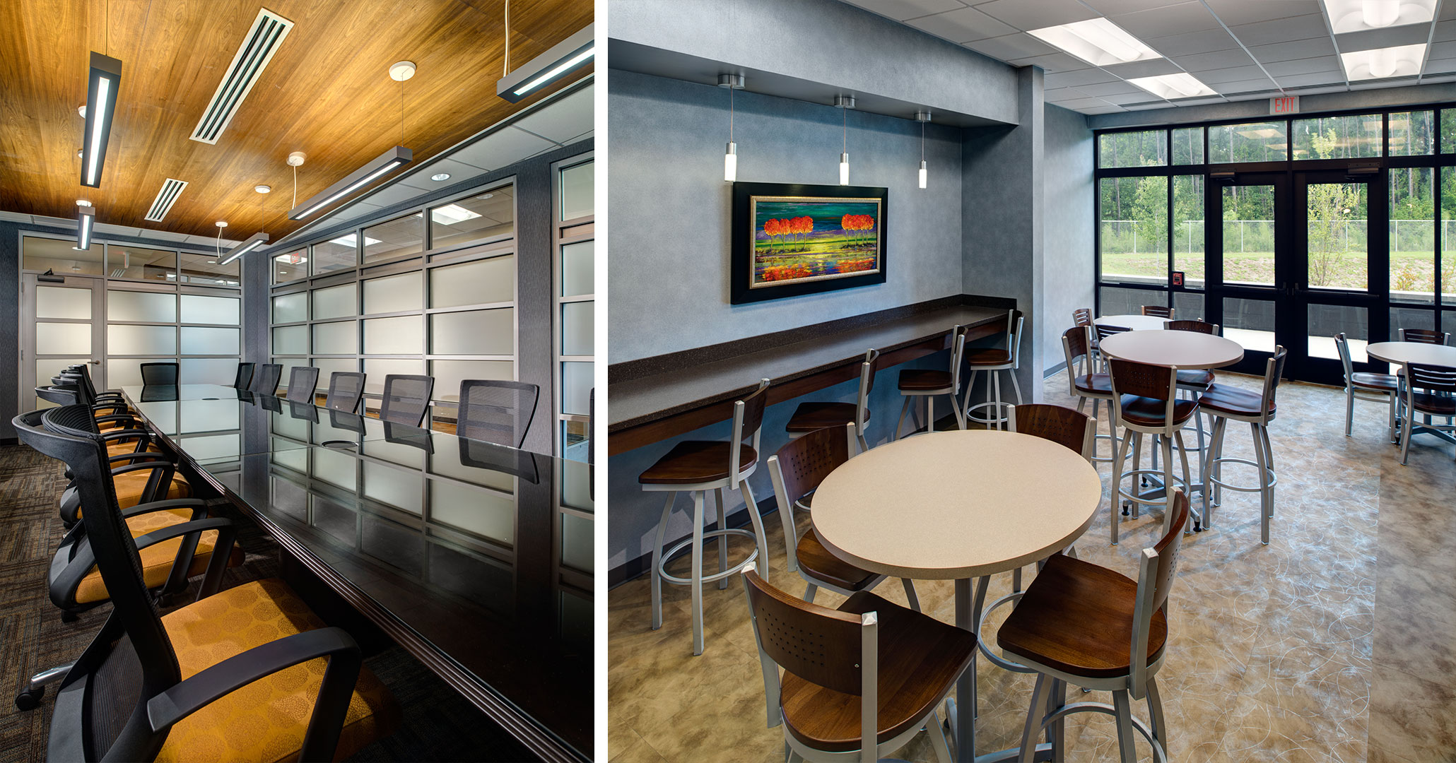 Boudreaux architects worked with the Richland County Recreation Commission to design the interior conference space and cafeteria area at the RCRC Headquarters.