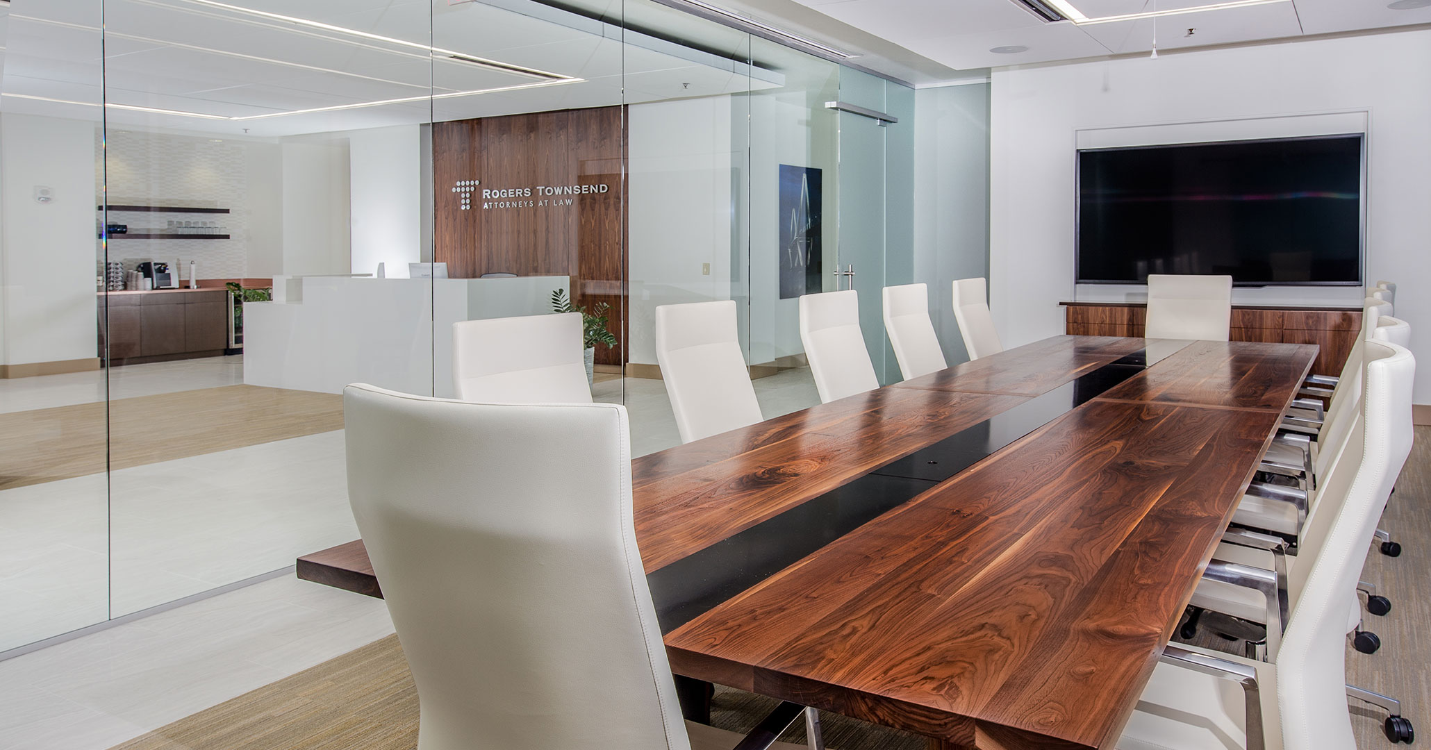 Boudreaux architects provided interior design services for Rogers Townsend Thomas Attorneys at Law for their modern office spaces.