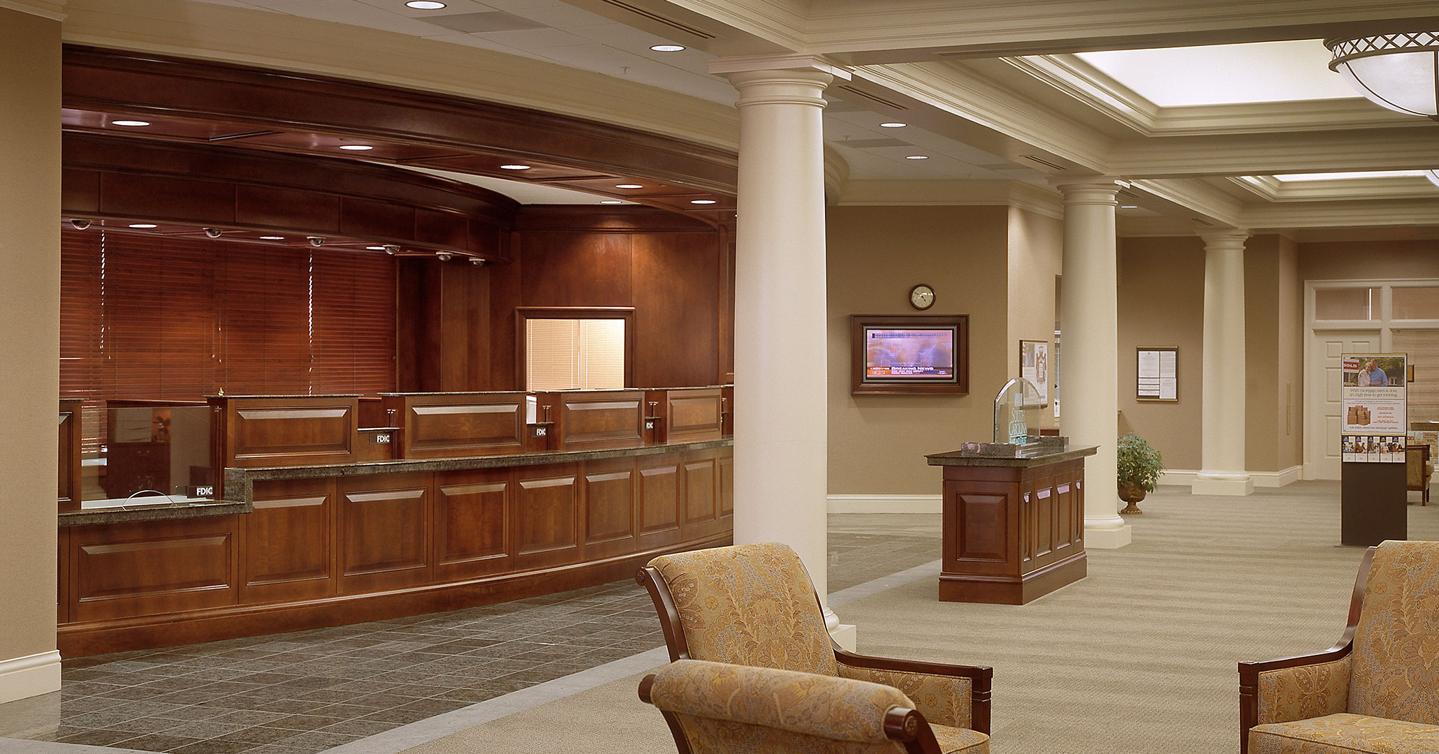 Boudreaux architects worked with South State Bank providing interior design services for their office spaces on Gervais Street in Columbia, SC.