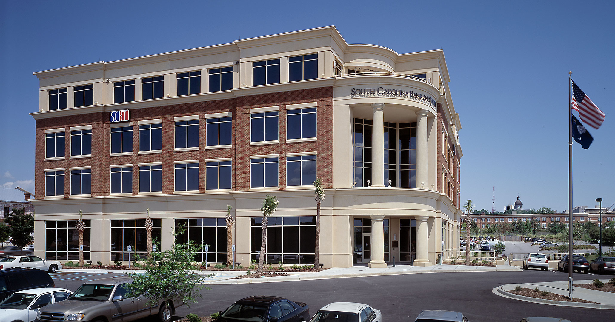 Boudreaux architects worked with South State Bank to provide high-end interior design services for their workplace.